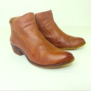 Lucky Brand Brolley Cognac Leather Ankle Boots 8.5